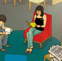 Poster Bibliotecas Escolares. Un proyecto de Diseño e Ilustración de Manuel Lariño - Miércoles, 08 de julio de 2009 09:27:20 +0200