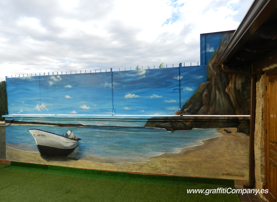 Mural de playa domestika for Decoracion de patios con piscina