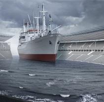Fotomontaje Barco en Estadio. Un proyecto de Diseño de Rodrigo Dobñia         - 03.07.2012