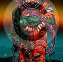 "Ilustración ""Astronauta Marinero"". Um projeto de Ilustração de MIGUEL ANGEL JANEIRO FERNÁNDEZ         - 14.05.2013"