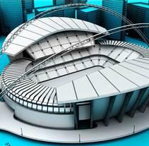 Modelo 3D de estadio.  FX Fútbol 1.0. A 3D project by Manuel  Moreno Vela         - 27.02.2014