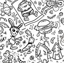 """Crazy Pop"" Pattern Design. A Character Design&Illustration project by Pupa Pupapop - 08.13.2014"