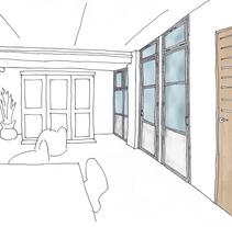 Estudio de distribución del sótano de Lidia. Un proyecto de Consultoría creativa, Arquitectura interior y Diseño de interiores de Teresa Bermejo Villaverde         - 24.07.2014