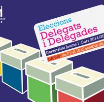 Cartelería Elecciones de Delegado 2014 UJI. A Graphic Design project by Pilar Escribano         - 26.10.2014