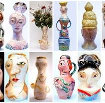 Cabezas Jarrón. Um projeto de Design, Ilustração, Instalações, Artesanato, Educação, Artes plásticas, Pintura, Design de produtos e Escultura de David Gómez Blaya - 09-11-2014