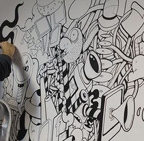 Mural en las oficinas de Fugu. A Design, Illustration, Fine Art, and Painting project by Óscar Lloréns - 11-11-2014