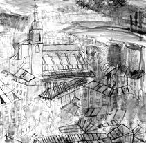 Ilustración desde la Ventana de la Casa de los Picos (Segovia) . Un proyecto de Bellas Artes de José Antonio  Serrada García         - 16.11.2014