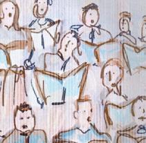 Postal promocional para coro. Un proyecto de Ilustración de Brezo Rubin         - 16.03.2015