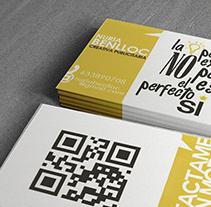 Tarjeta personal. Un proyecto de Diseño, Publicidad, Dirección de arte, Br e ing e Identidad de Núria Benlloch         - 27.04.2015