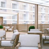 Diseño Terrazas Hotel. Un proyecto de 3D, Arquitectura y Diseño de muebles de Alfonso Perez Alvarez         - 21.08.2015