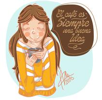 El café es siempre una buena idea. . A Illustration, Character Design, and Graphic Design project by Alessandra Casas Comesaña         - 09.08.2015