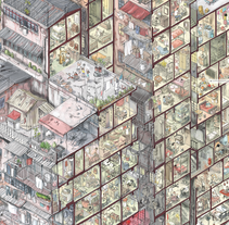 Kowloon Walled City, la ciudad de la anarquía. A Illustration, Editorial Design, Graphic Design, Information Architecture, Information Design, and Comic project by Adolfo Arranz - 23-03-2013
