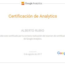 Certificado Google Analytics. Un proyecto de Marketing de Alberto  Rubio Criado - 08-02-2016