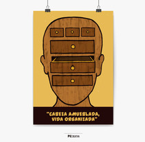 Cabeza amueblada vida organizada. A Illustration, and Graphic Design project by Pecreativa         - 03.06.2014