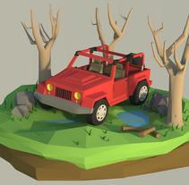 Jeep - Low poly. A 3D project by Carla González García         - 03.01.2016