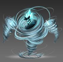 Criatura elemental de aire. Um projeto de Ilustração, Direção de arte, Design de personagens, Artes plásticas e Vídeo de Duberly Mazuelos         - 17.04.2016