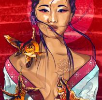 Japonesa. A Illustration, and Fine Art project by paulastudillo1210         - 27.07.2016