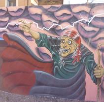 Mural en Bañon con leyenda local. A Street Art project by Victor Manuel  Lozano Lázaro         - 26.08.2016