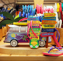 Havaianas - Campanha Praias do Brasil - Carnaval 2016. Um projeto de Direção de arte, Br, ing e Identidade, Consultoria criativa, Design gráfico e Papercraft de Enrique Müller         - 16.10.2016