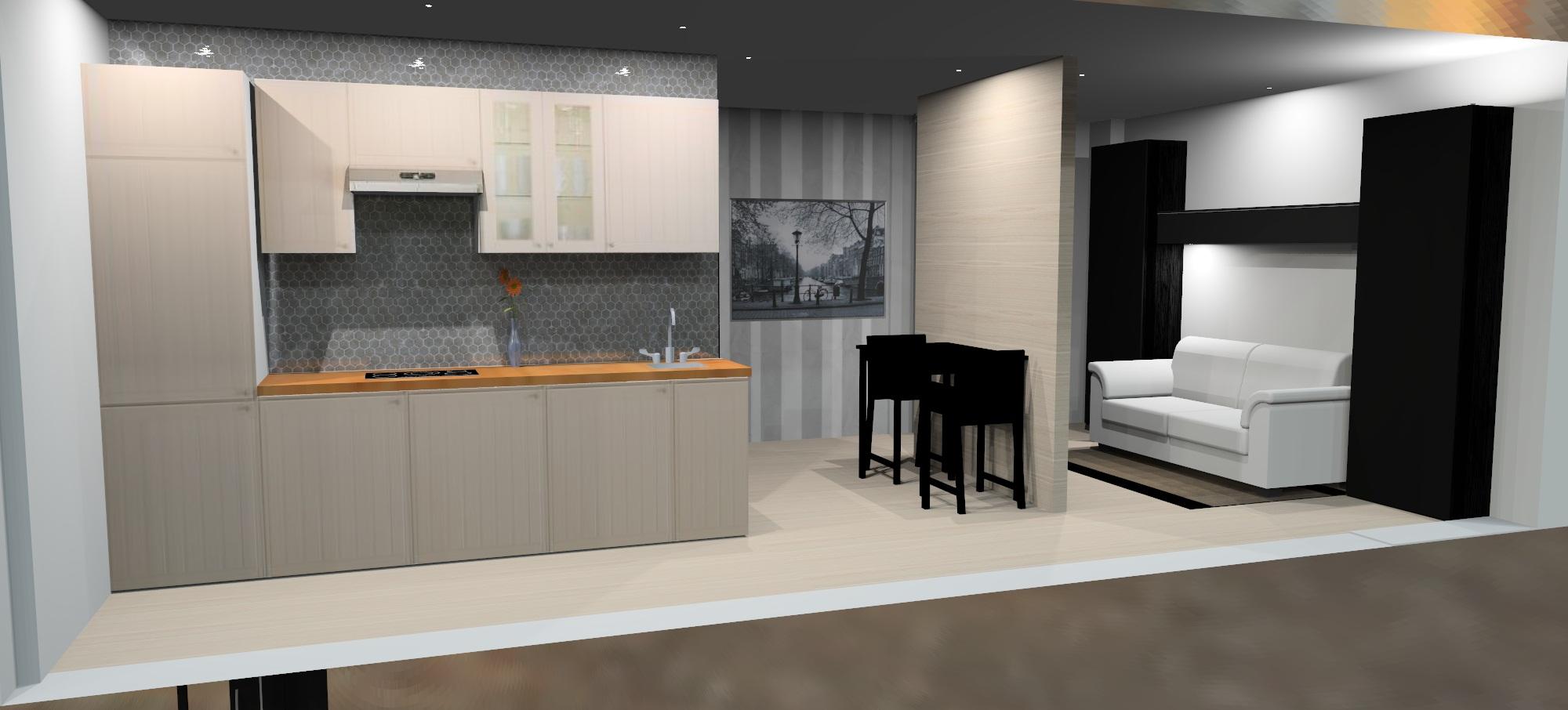 Piso 40m2 domestika for Cocina comedor salon