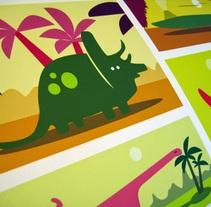 Ilustraciones dinosaurios infantiles para vinilos. A Illustration project by Joan Puig - 08-02-2017