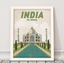 Póster Taj Mahal, India. A Graphic Design project by Mónica Grützmann         - 15.02.2017