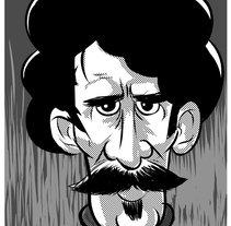 Viajero del tiempo con bigote.. A Illustration project by Iker J. de los Mozos - 17-03-2017