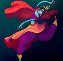 Indian Dancer. A Illustration, Character Design, and Fine Art project by Marta Pérez Grande - 31-05-2017