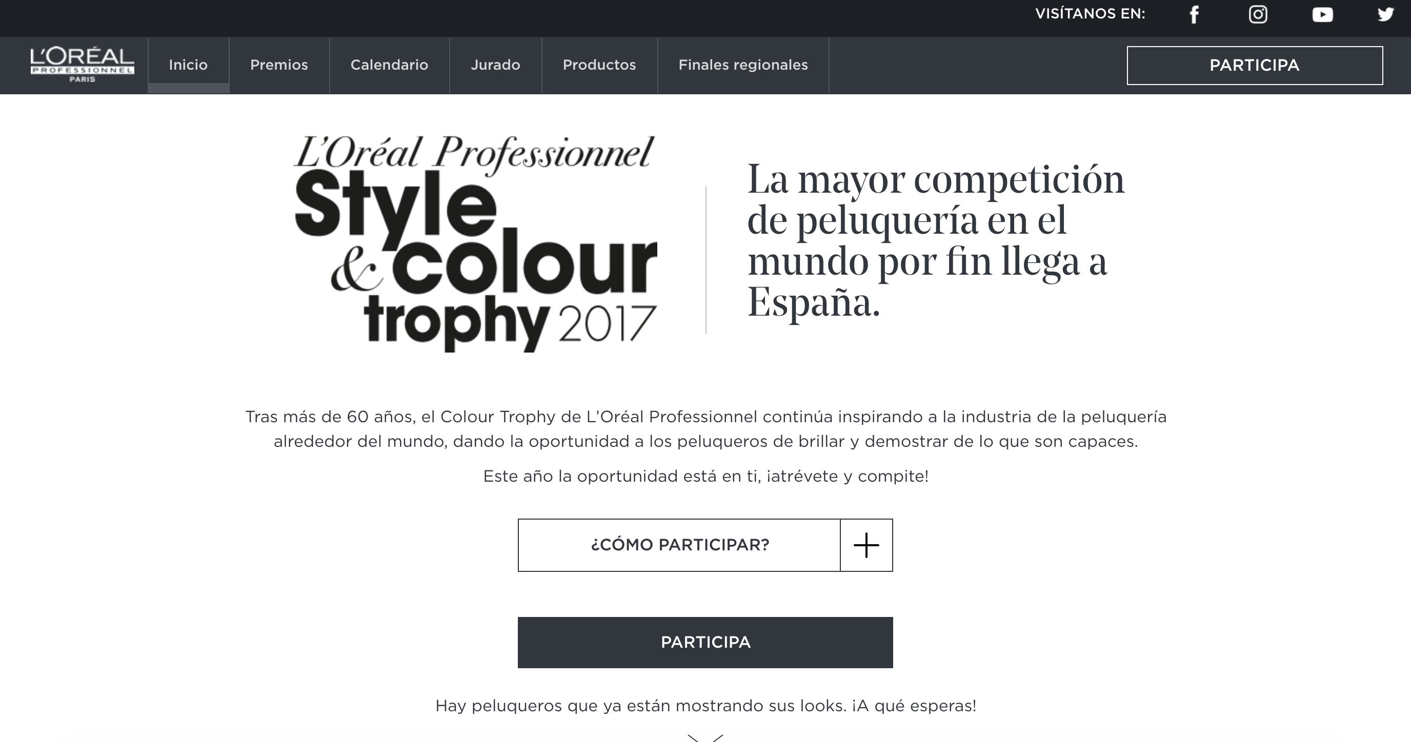 """L'Oreal Professionnel Colour Trophy website"". A project by rocio.g 