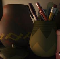 Modeling objects on a shelf.. Un proyecto de Diseño, Cine, vídeo, televisión, 3D, Animación, Dirección de arte, Diseño de personajes, Arquitectura interior, Vídeo y Televisión de Israel  Audelo Ruiz - 23-09-2017