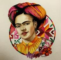 Frida khalo tenek San luis potosi . Un proyecto de Artesanía, Bellas Artes, Diseño gráfico, Pintura y Arte urbano de Héctor Armando Domínguez Rodríguez - 02-10-2017