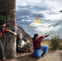 El ataque de los OVNIS - Fotografía creativa y fotocomposición - Héctor Vela Rivas. A Photograph, Marketing, Collage, and Digital retouching project by Héctor Vela Rivas         - 06.11.2017