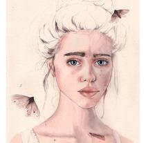 "Mi Proyecto del curso: Retrato ilustrado en acuarela - ""Lyse"". A Illustration, Fine Art, and Digital retouching project by Coral  - 16-11-2017"