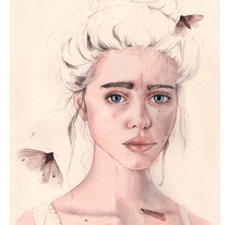 """Mi Proyecto del curso: Retrato ilustrado en acuarela - """"Lyse"""". Un proyecto de Ilustración, Bellas Artes y Retoque digital de Coral          - 28.11.2017"""