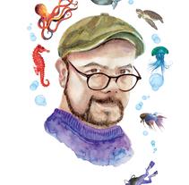 El buceo y la ilustración en acuarela. Mis dos grandes pasiones unidas en este autorretrato.. A Illustration project by Arturo Monroy - 13-11-2017