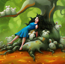 Alice did not find the rabbit, perhaps the white rabbit dreamed of alice after a breakfast of mushrooms. A Illustration, Animation, Character Design, and Painting project by eduardo berazaluce         - 07.12.2017